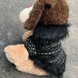 Cute vintage plaid faux fur dog jacket